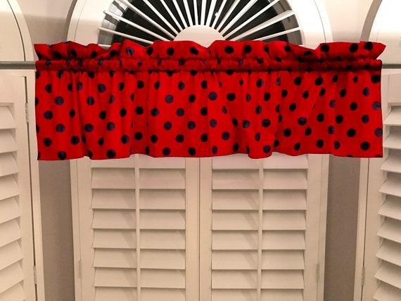 Cotton Valance Polka Dots Spots Regular Dot Black On Red Etsy