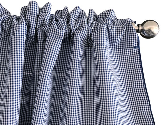 Micro Gingham Checker Plaid Window Valance 58 Inch Wide For Kitchen Or  Bedroom Windows Royal Blue