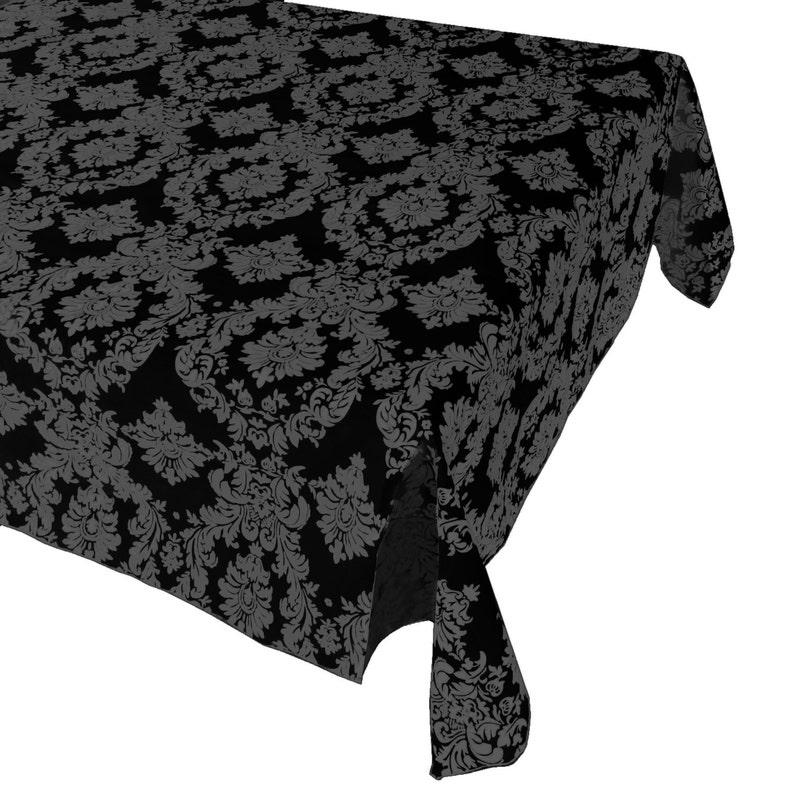 Damask Table Cloth Decorative Polyester Taffeta Charcoal Black