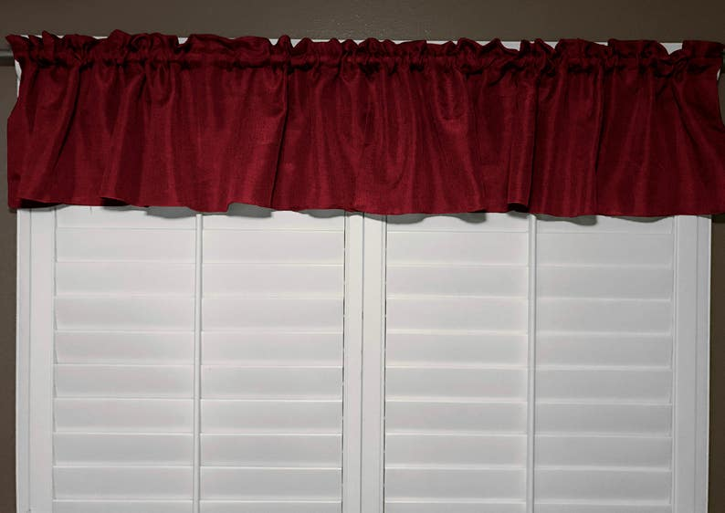 Vintage Linen Valance Solid Burgundy  Window Decor  Window Treatments