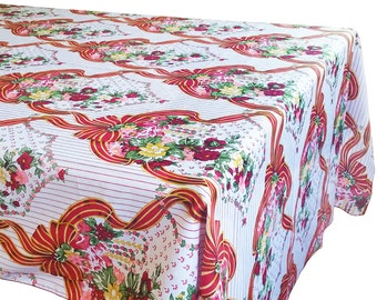 Cotton Table Cloth Picnic Print Ribbons & Flowers