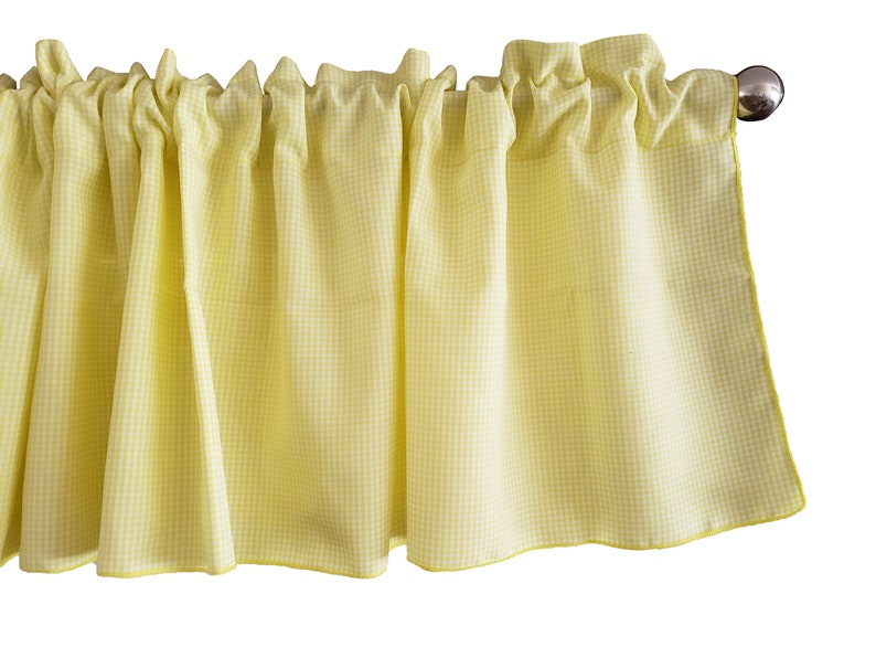 Charmant Micro Gingham Checker Plaid Window Valance 58 Inch Wide For Kitchen Or  Bedroom Windows Yellow