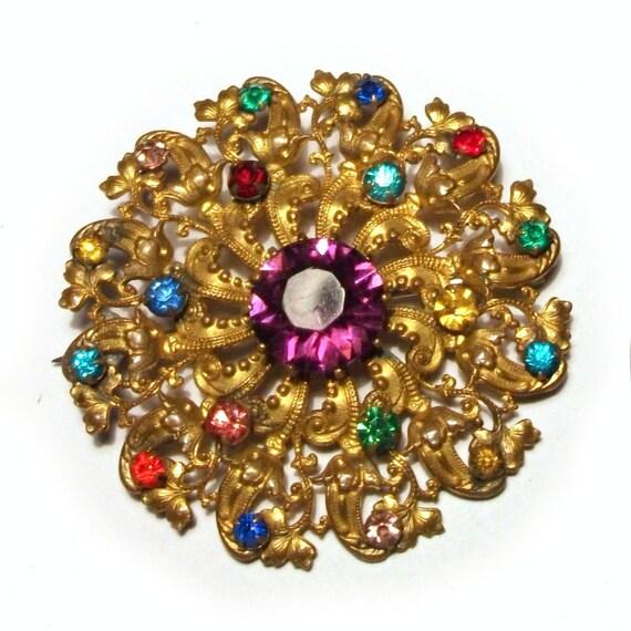 1930s Czech Brooch Bohemia Rhinestone Gold Ornate