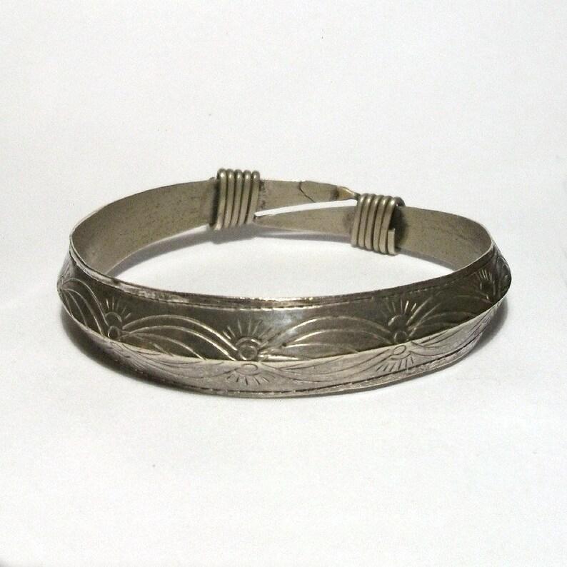 d86793e5dd Tribal Silver Bangle Vintage Boho Etched Wire Wrapped Bracelet | Etsy
