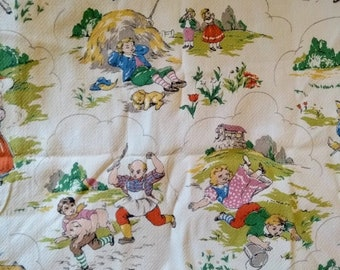 1950s Nursery Rhyme Fabric Vintage Barkcloth Cotton Rare Print Pattern Baby Toddler Child Duvet Cover