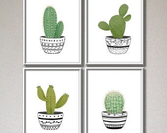 Cactus art print, cactus printable, kitchen wall decor, botanical illustration, succulent print, printable gift for her, set of 4 prints