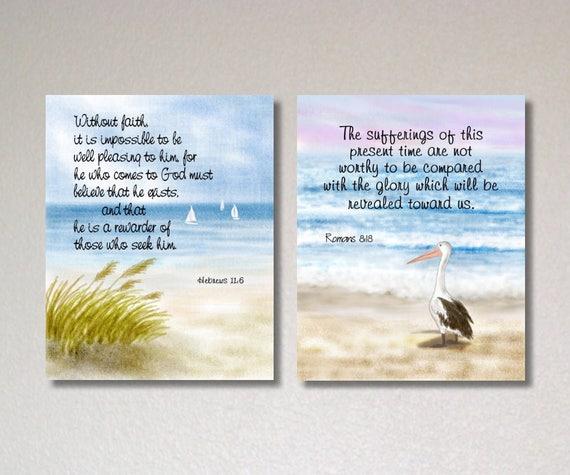 Christian Artwork Druk Cytaty Biblijne Werset Biblii Plakat Hebrajczyków 116 Rzymian 8 18 Wystrój Plaży Malarstwo Ocean Ptaków Instant