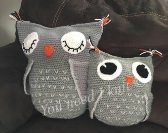 Owl pillow / owl cushion / crochet owl cushion / crochet owl pillow / sleepy owl cushion / sleepy owl pillow, custom owl cushion, owl decor