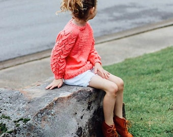 Aida pullover kids, sweater with lace, pullover with bubble sleeves, handmade pullover, feminine pullover, elegant sweater