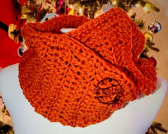 Infinity scarf / Winter infinity scarf/ Merino infinity scarf / Full look scarf / Winter made scarf / Orange infantry scarf/