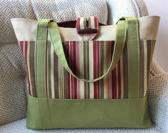 Green and white canvas tote, Green Tote bag, White tote, Gift for Women, Mother's Day Gift, Teacher Gift, Birthday Gift, Lined tote