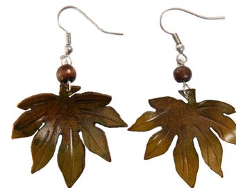 leaf earrings aralia leather flower