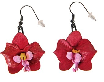 Flower Earrings Orchid fuchsia leather flower