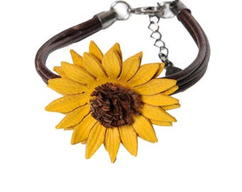 Flower bracelet sunflower in bloom with cowhide leather