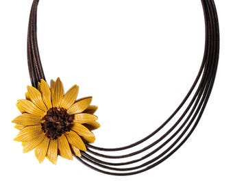 Flower necklace sunflower in bloom with cowhide leather shifted leather cords