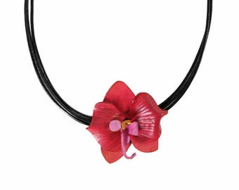 Flower necklace Orchid fuchsia leather flower