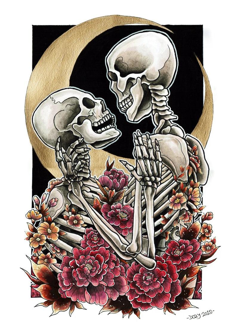 Skeleton Lovers Art Print