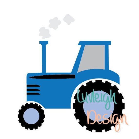 Blue Country Farm Barn Tractor Clipart Download Vector