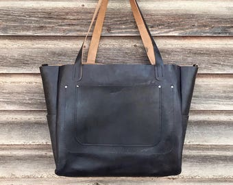 Leather Diaper Bag, black leather large tote, waxed leather weekender
