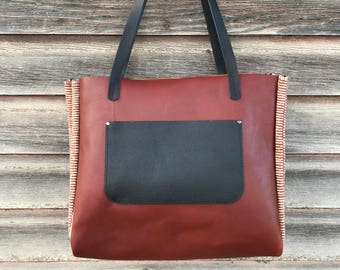 Leather Tote Bag, womens shoulder purse,  large leather carryall tote,  boho leather bag