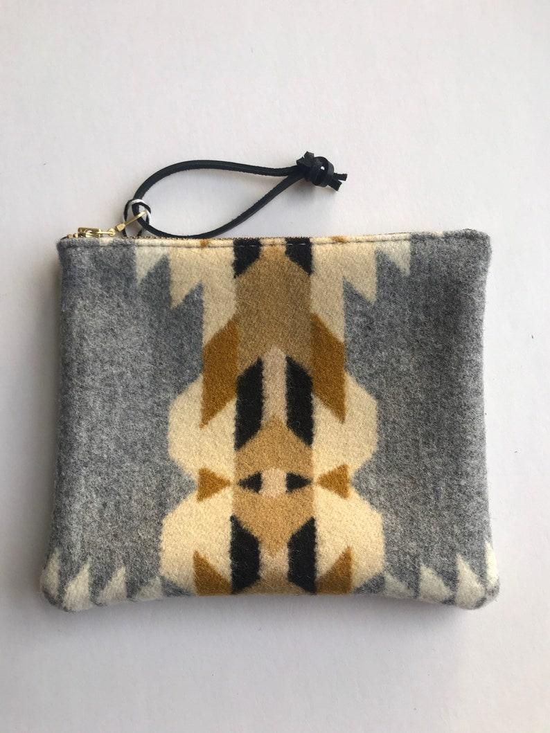 southwest clutch purse tribal print purse modern makeup bag gifts for her Zippered wool clutch
