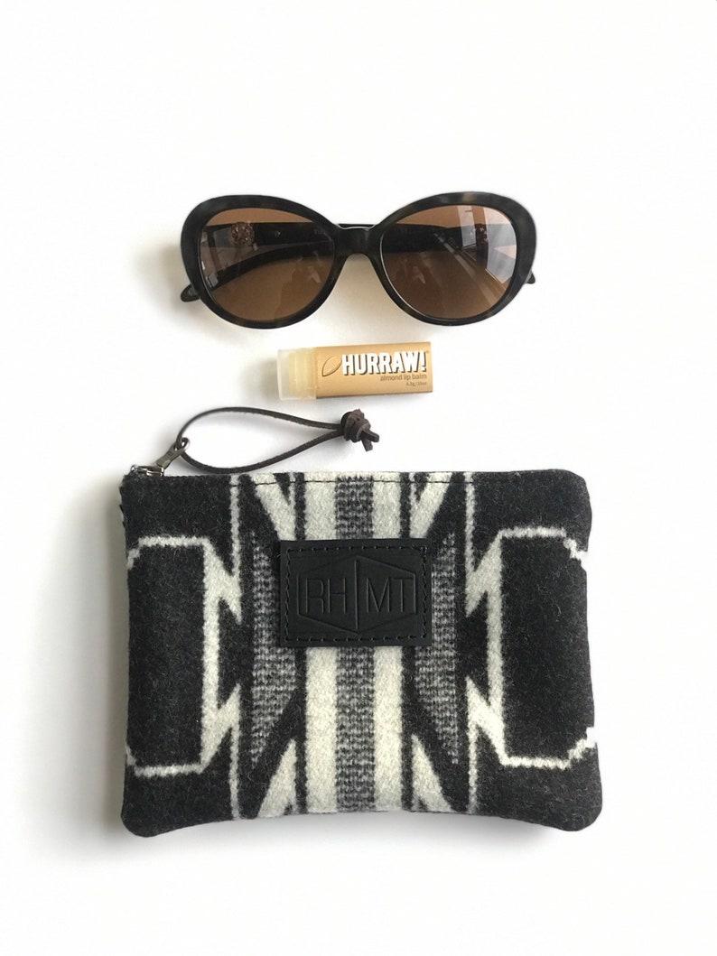tribal print purse southwest clutch purse Zippered wool clutch modern makeup bag gifts for her