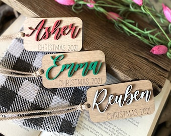 Personalized Ornament, Christmas 2021 Ornament, Stocking Name Tag, Personalized Gift, Christmas Ornament, Gift Name Tag, Family Name Tag