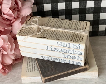 Personalized Wood Books, Family Name Decor, Mothers Day Personalized Gift, Stamped Books, Personalized Stamped Books, Stamped Book Set