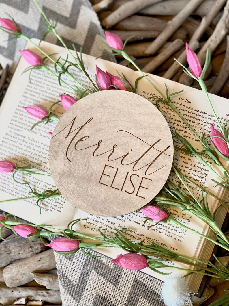 Newborn Photo Prop Name Announcement Plaque Baby Name Sign Wildflower Nursery Decor Fresh 48 Name Sign Engraved Wooden Name Sign