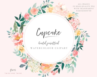 Watercolor Floral Clipart - Cupcake