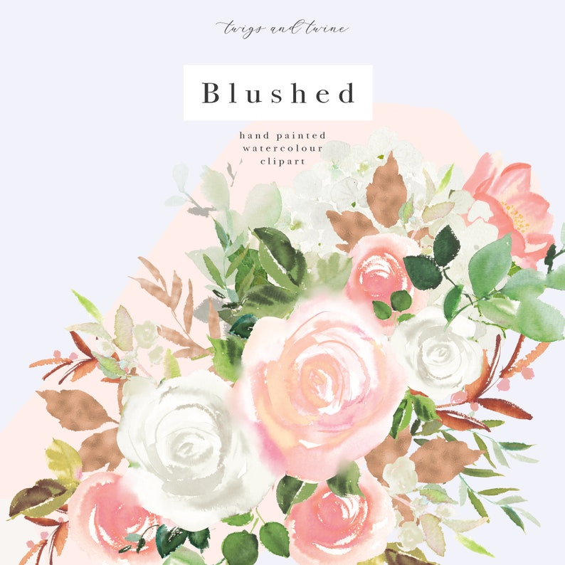 and Web Design Rose Bouquets Digital Painted Watercolor Clip Art for Scrapbooking INSTANT DOWNLOAD CL0011