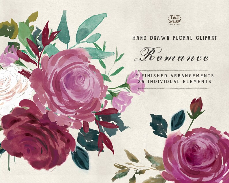 Romance  Watercolour Flower Hand Painted Clipart image 0