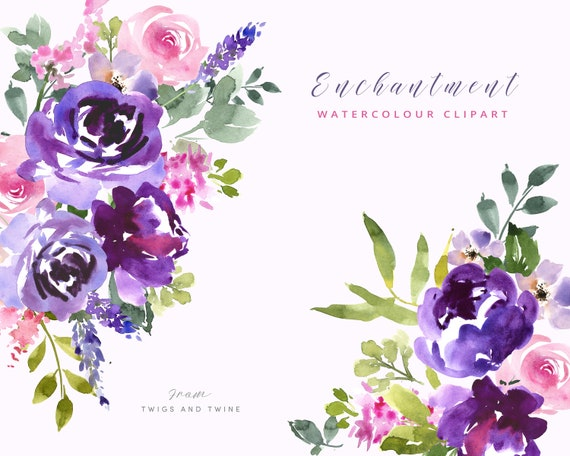9c3fe52b9034b Hand Painted Botanical Watercolour Clipart - Enchanted. Floral Clipart  Ideal For Design
