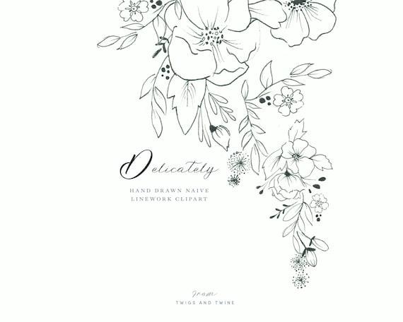 Zart Feine Linie Hand Gezeichneten Blumen Clipart Perfekt Etsy