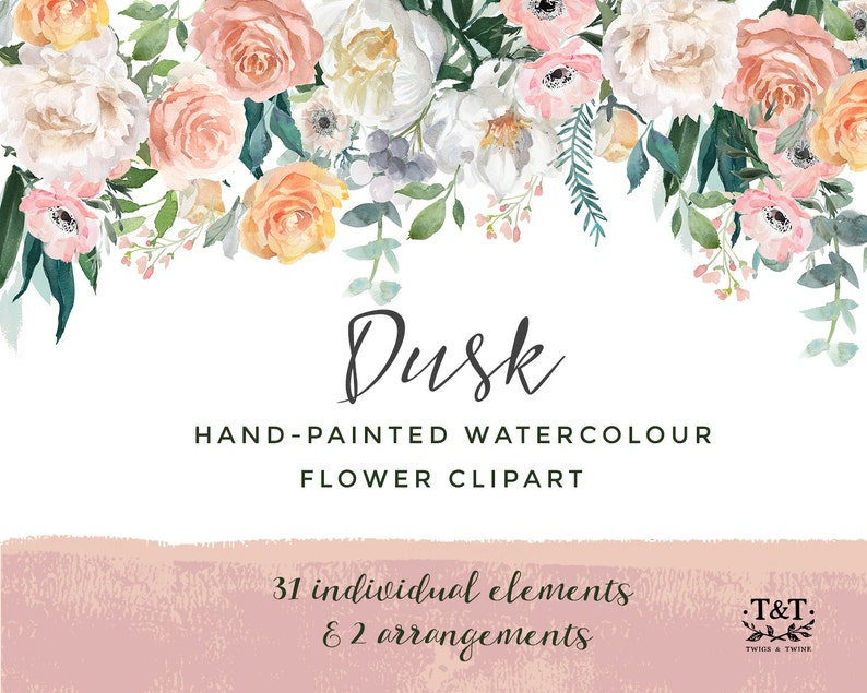 Watercolor Hand-Painted Flower Clipart  Dusk image 0