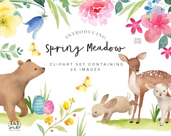 Watercolor Clipart Set - Spring Meadow - Easter Clipart