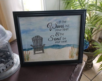 Beach Decor | Waves | Watercolor | Sand in Your Toes | Ink