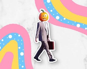 Walking Pumpkin Dwight Halloween Waterproof Vinyl Sticker | Laptop Decal Sticker Small Gift Laptop Sticker Permanent Vinyl Halloween Sticker