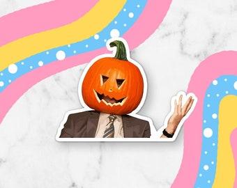 Dwight Pumpkin Head Halloween Waterproof Vinyl Sticker | Laptop Decal Sticker Small Gift Laptop Sticker Permanent Vinyl Halloween Sticker