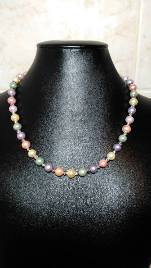 Muticolor freshwater pearl set.  Pink, Pistachio, Peacock and Gold