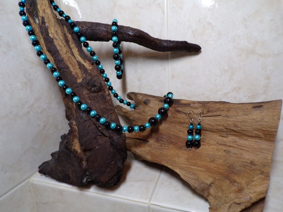 Black &  Teal Glass Pearl Jewelry Suite