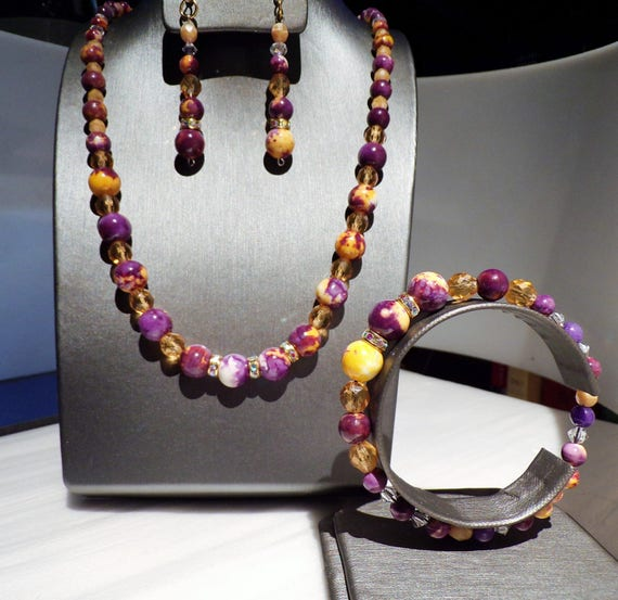 Mosaic in Purple and Orange 3 pc jewelry suite