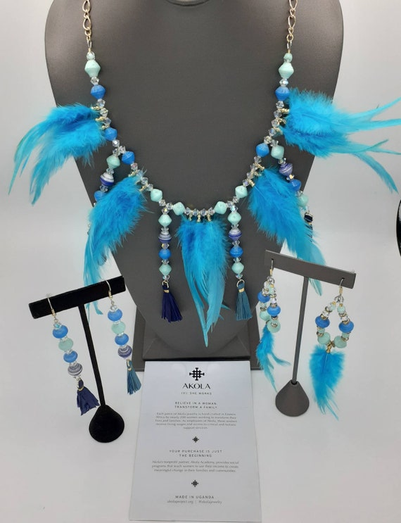 Bold and Blue Feathered neckpiece   AKOLA beads and tassels