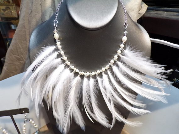 White Wedding Feathers  Necklace and 2 pairs of earrings
