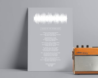 Lyrics Sound Wave Poster Personalised Any Song First Dance Soundwave Gift for Men Music