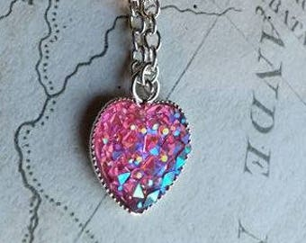 Heart Necklace, Heart Pendant, Pink Druzy Necklace, Pink Rhinestone Necklace, Pink Rhinestone, Pink Pendant, Heart Cabochon, Sparkly Pink,