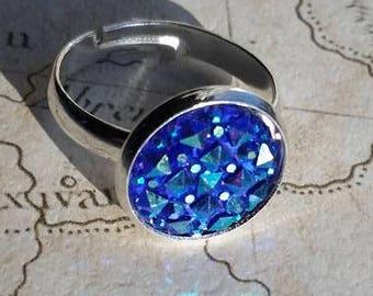 Blue Ring, Sparkly Ring, Blue Rhinestone Ring, Blue Druzy, Bling Ring, Druzy Ring, Resin Ring, Statement Ring, Gemstone Ring, Faux Druzy,
