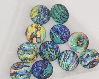 10 Colourful Butterfly Cabochons Round Glass Cabochon Flat Back Bug Cute 10mm UK