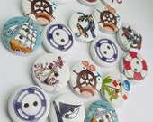 Pirate Buttons, Nautical Buttons, 25mm Buttons, Wooden Buttons, Novelty Buttons, Boys Buttons, Voyager, Boat Buttons, Ship Buttons,