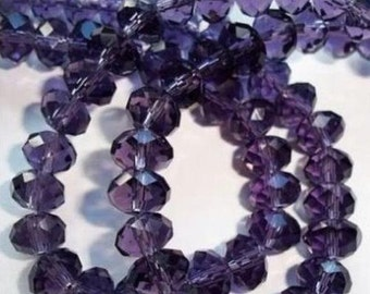 Purple Rondelle Beads, Rondelle Beads, Glass 6mm Beads, Glass 4mm Beads, 6mm Beads, 4mm Purple Beads, Purple Faceted Beads, Purple Beads
